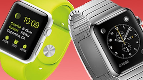apple watches green and silver