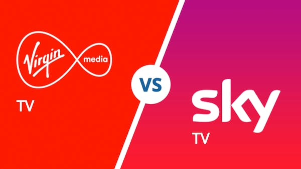 Virgin Media TV vs Sky TV logo