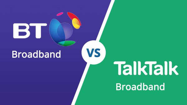 BT Vs Talk Talk broadband logos