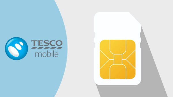 Tesco Mobile logo and SIM card