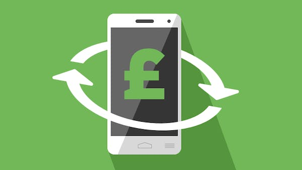 Cashback on mobile phone icon