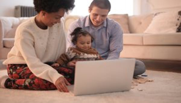 Family on computers